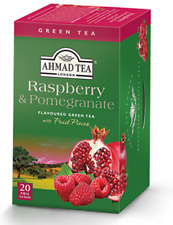 Ahmad Raspberry & Pomegranate Green Tea, 6 box of 20 Tea Bags, NEW