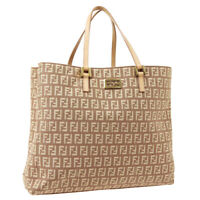 FENDI Zucchino Hand Tote Bag Purse Brown Light Pink Canvas Leather Auth F03205