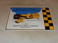 """VINTAGE GRANVILLE BROTHERS AIRCRAFT 14"""" PORCELAIN METAL PLANE GASOLINE OIL SIGN!"""