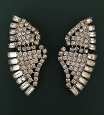 vintage clear rhinestone Clip On Earrings