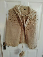 RIVER ISLAND WOMENS BEIGE KNITTED SOFT HOODED PONCHO SIZE 12 FRONT BOBBLES TIE