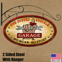 Busted Knuckle Garage Double Sided Oval Steel Sign with Hanger - Made in USA