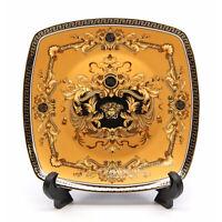 """Royalty Porcelain Yellow 10"""" Dinner Plate, Medusa Greek Key 24K Gold, 1-pc"""