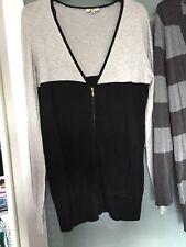 Ladies Grey And Black Long Cardigan Size 14