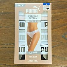 NEW 4 Pack PUMA Women's Premium 95% Cotton Stretch Bikini Panties Underwear Soft