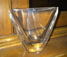 Vintage Val St Lambert Tricornered Vase Toothpick Holder Crystal Art Glass