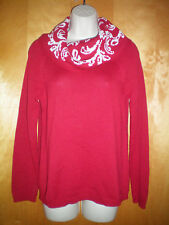 NWT NEW womens size S red white CHRISTOPHER & BANKS cowl neck sweater free ship