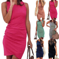 Womens Asymmetric Bodycon Sleeveless Vest Holiday Summer Party Mini Wrap Dress