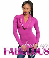NEW SEXY WOMENS COWL NECK JUMPER TOP Size 6 8 10 12 SWEATER CASUAL PARTY WEAR