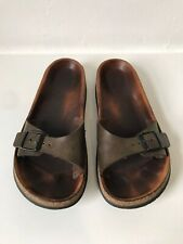 Birkenstock Sandals Size 6 Green Brown Leather Madrid Slip On Sandals EU 39