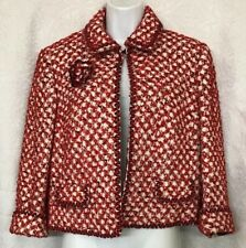 Escada Jacket Red White And Black Tweed Flower Pin Crop Cuff Size 10