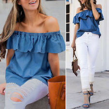 Women's Denim Off Shoulder Tops Ladies Summer Casual Loose Party Shirt Blouse