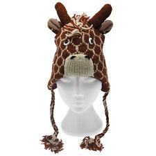 Hecho a mano Invierno Animal De Lana Jirafa Divertido Sombrero. Forro polar, un tamaño, Unisex