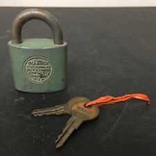 Yale & Towne Junior Disc Tumble Green Vintage Pad Lock With Key