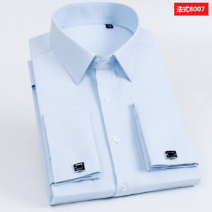 Mens Dress Shirts French Cuff Long Sleeves Business Work Shirts With Cufflinks