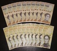 VENEZUELA BOLIVARES SET 10 X 100000 / 10 X 500 Soberanos NEW UNC LOT 20 PCS