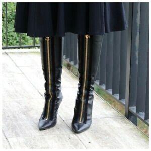 Jimmy Choo Black Leather Gold Zipper High Boots Size 38