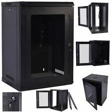 18U Wall Mount Network Server Data Cabinet Enclosure Rack Glass Door Lock w/ Fan