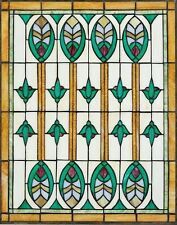 "25"" BY 20"" PRAIRIE STYLE GEOMETRICS OF NATURE STAINED GLASS MASTERPIECE"