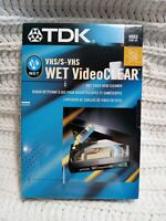 TDK Wet Video Clear VHS Head Cleaner VHS/S Video ~VCR Cleaner w/ Solution