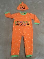 Halloween Pumpkin Costume / Romper and Hat, Size 3T