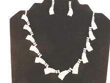 Silver Plated Rhinestone Bridal Brushes Adjustable Necklace & Earrings Set