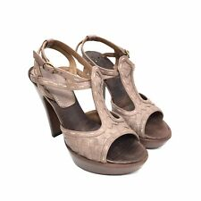 Women's Bottega Veneta Brown Leather T-Strap Platform Heels Size 35