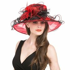 Women's Organza Church Kentucky Derby Cap British Party Hat Ruffles Feather
