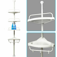 Telescopic Shower Shelf Caddy Bathroom Corner Storage Unit White Plastic Shampoo
