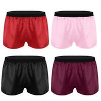 Mens Lightweight Satin Boxer Shorts Panties Underwear Lounge Sports Short Pants