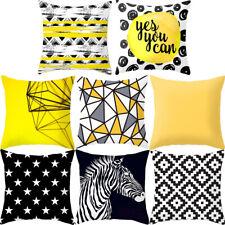 Fashion Geometric Cushion Mustard Yellow Black White Home Decor Sofa Case Cover