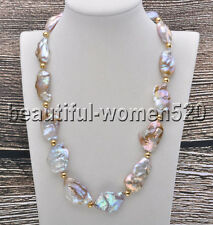 Z7464 Huge 33mm Lavender Baroque Keshi Reborn Natural Pearl Bead Necklace 20inch