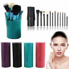 12PCS Goat Hair Makeup Brush Set Cosmetic Brushes Tool Set w/Leather Cup Holder