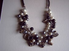 * CHUNKY NECKLACE - FAUX PEARLS ON METAL CHAIN - PLAITED CORD NECKLACE