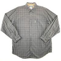 COLUMBIA Mens Size Large Grey Plaid Oxford Shirt