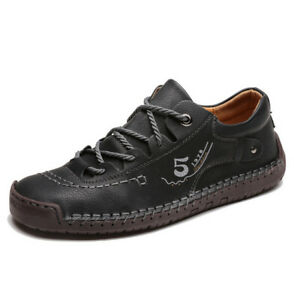 Men Oxford Shoes Moccasin Casual Faux Leather Lace Up Flat Leisure Comfortable