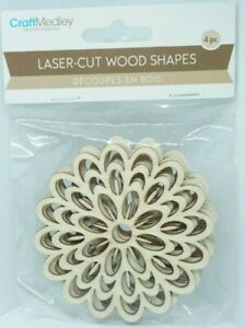 Laser Cut Wood Shapes 4 pcs. Large Flowers