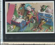 Anthropomorphic Cat Family At Play French Trade Card; Antique Dealer Lyon France