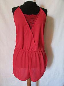 kurzer Jumpsuit Rot Gr.M 40 42 Spitze Dessou Bodysuit Overal Einteiler Pyjama