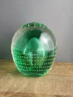 Vintage Hand Blown Glass Paperweight Green With Controlled Bubbles