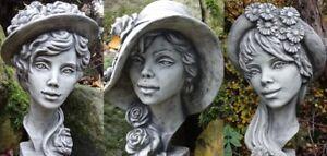 Büste Steinfigur Steinguss Lady Kopf Zauberblume Vidroflor Steinkopf Statue