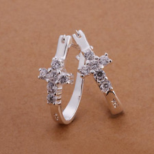 Womens 925 Sterling Silver Elegant U-Shaped CZ Crystal Cross Hoop Earrings #E35