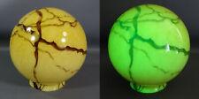 Art Deco Bohemian Loetz Vaseline Cream w/Brown Agate Slag Glass Lamp Shade Globe