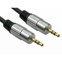 Aux Lead Cable Stereo 3.5mm Jack to Jack Male Metal OFC Screened 0.5m up to 20m