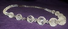 """Vintage Art Deco Cut Glass 16 1/2"""" Necklace Chunky Stones and Smaller Stones"""