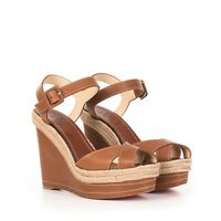 CHRISTIAN LOUBOUTIN $795 Cuoio Brown Leather Almeria 120 Sandals