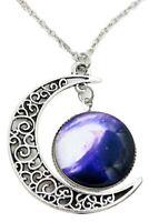 Women Galactic Glass Cabochon Pendant Crescent Moon Necklace(Color numbers: J9Z7