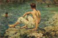 GAY Oil painting Henry Scott Tuke young boys swimming in the summer river view