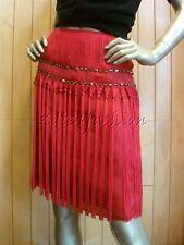 $2230 New ALBERTA FERRETTI Red Fuchsia Fringe Rhinestone Silk Skirt 6 42