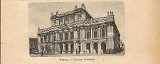 Stampa antica TORINO veduta di Palazzo Carignano 1891 Old antique print